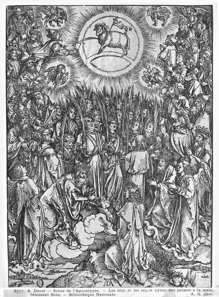 Scene from the Apocalypse, Adoration of the Lamb, edizione tedesca, 1498 da Albrecht Dürer
