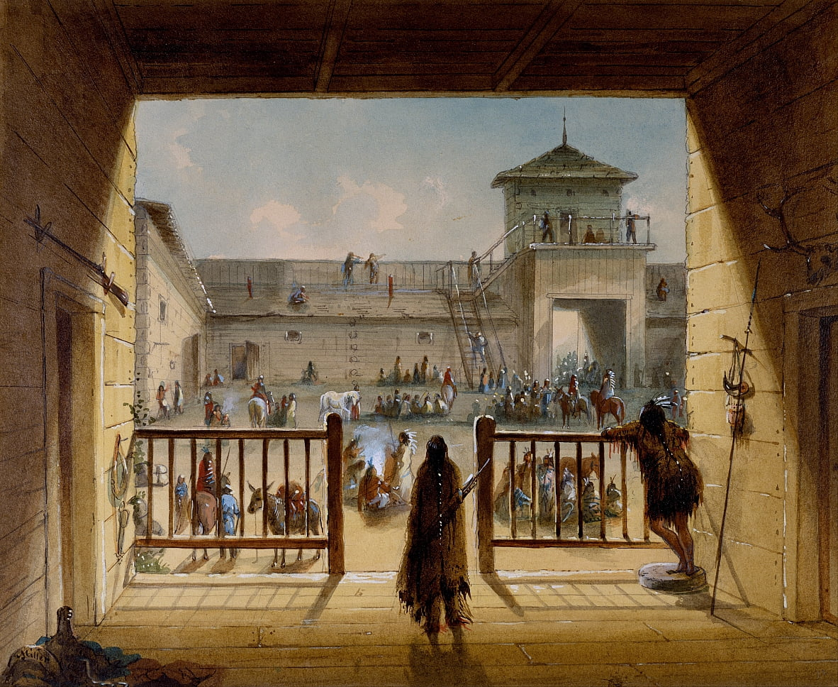 Interno di Fort Laramie da Alfred Jacob Miller