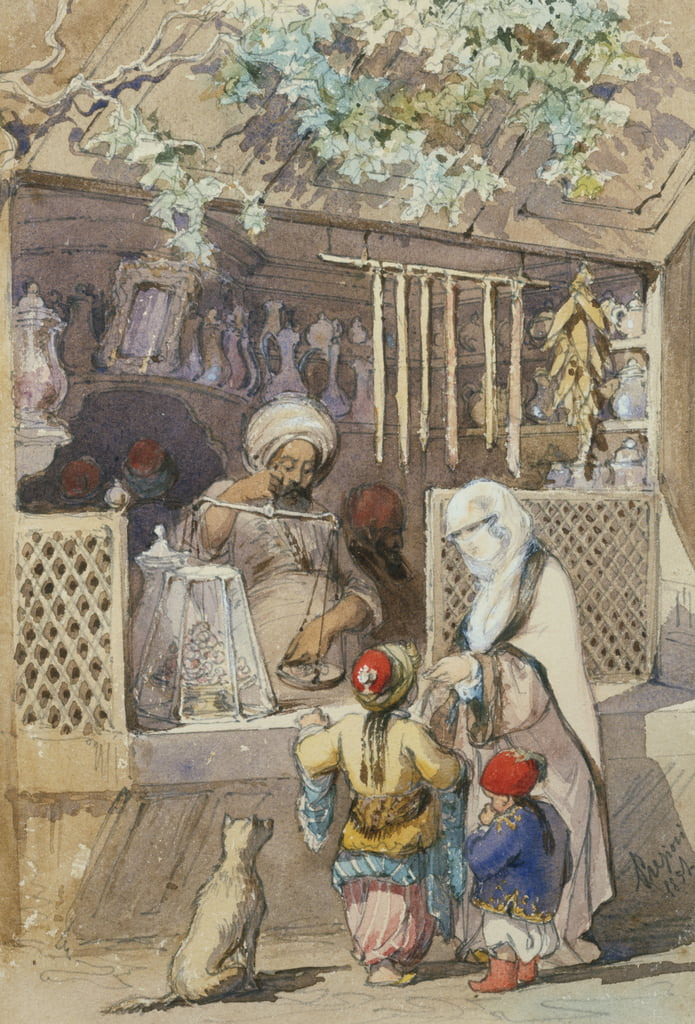 Turkish Figures at a Sweetmeat Stall, 1851 (pencil und wc) da Amadeo Preziosi