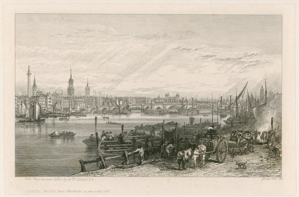 Costruzione del New London Bridge, 1826 da Augustus Wall Callcott