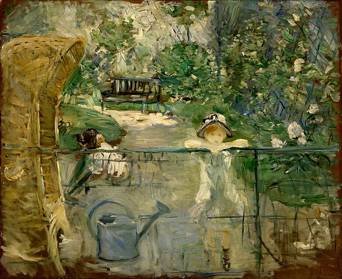 Little Girls in the Garden o, la sedia del cesto, 1885 da Berthe Morisot