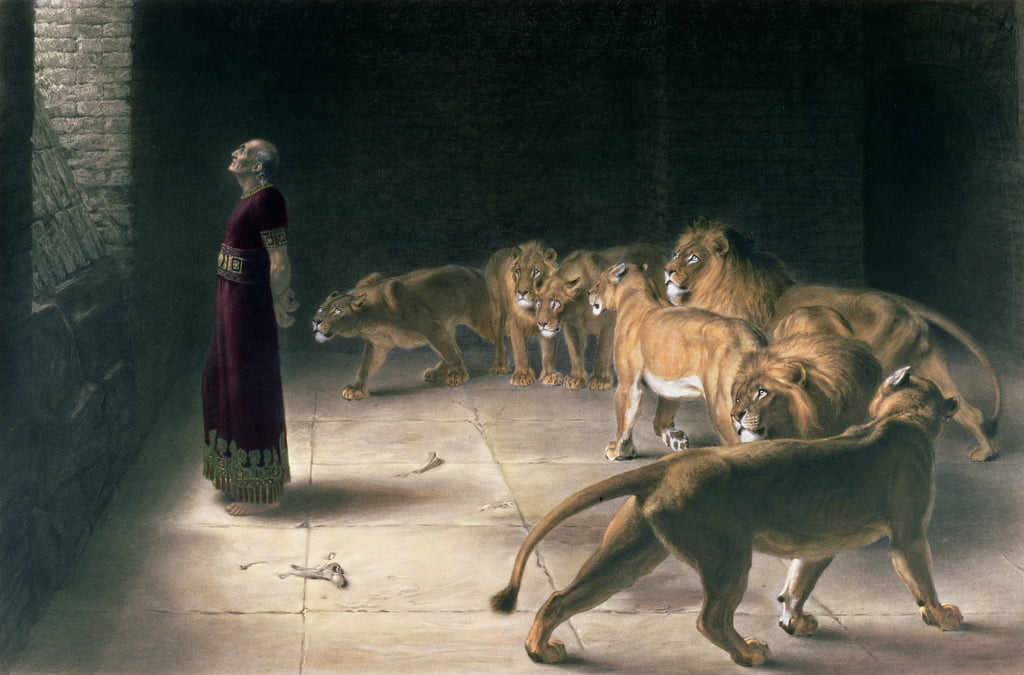 Daniel in the Lions Den, mezzatinta di JB Pratt, con colorazione a mano, pub. di Thomas Agnew and Sons, 1892 da Briton Riviere