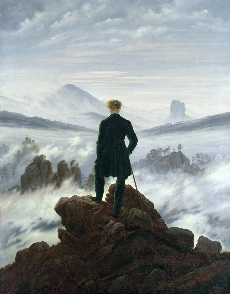 The Wanderer sopra il Sea of Fog da Caspar David Friedrich