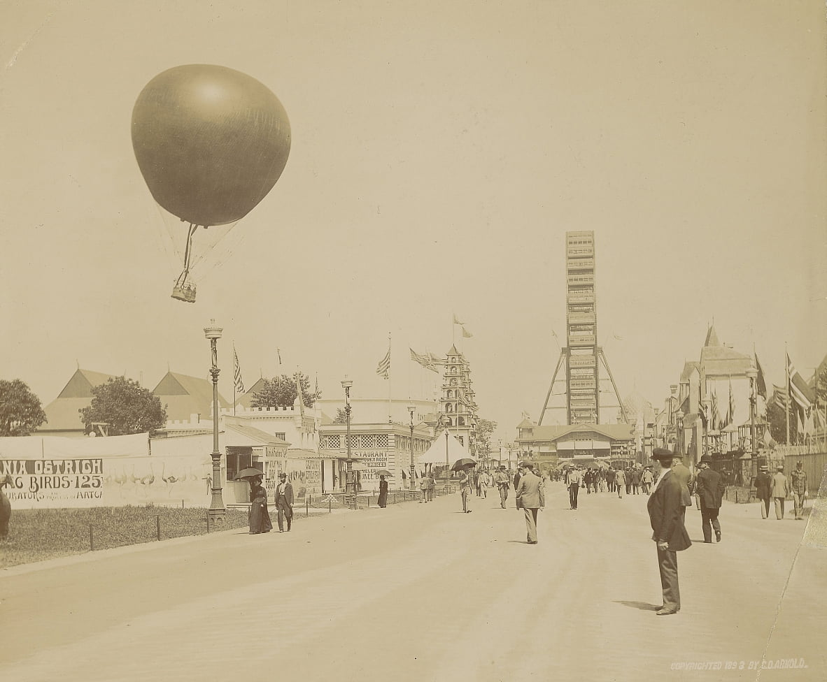 Captive Balloon and Ferris Wheel, World Columbian Exposition, Chicago da Charles Dudley Arnold