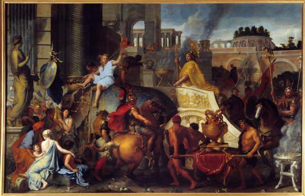 Il Trionfo di Alessandro o Ingresso di Alessandro Magno in Babilonia Pittura di Charles Lebrun Le Brun 1619-1690 XVII secolo Sole 45x77 m da Charles Le Brun