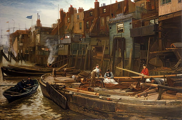 London River - The Limehouse Barge-Builders, 1877 da Charles Napier Hemy