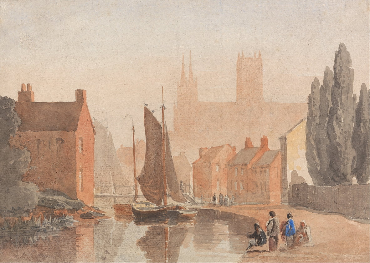 Cattedrale di Lincoln dalla piscina di Brayford da David Cox