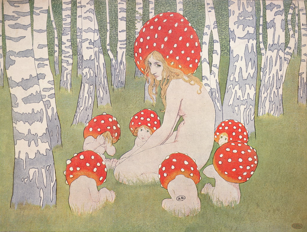 Mother Mushroom con i suoi figli, 1900 circa da Edward Okun