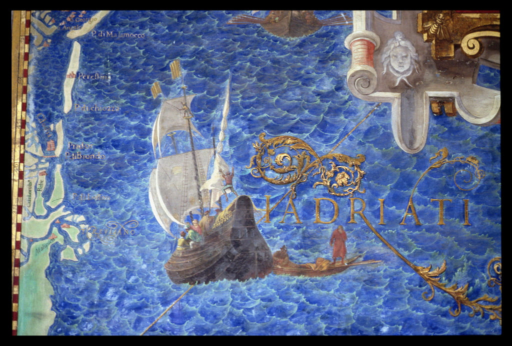 A galleon in the Adriatic, detail from the Galleria delle Carte Geografiche, 1580-83 da Ignazio Danti