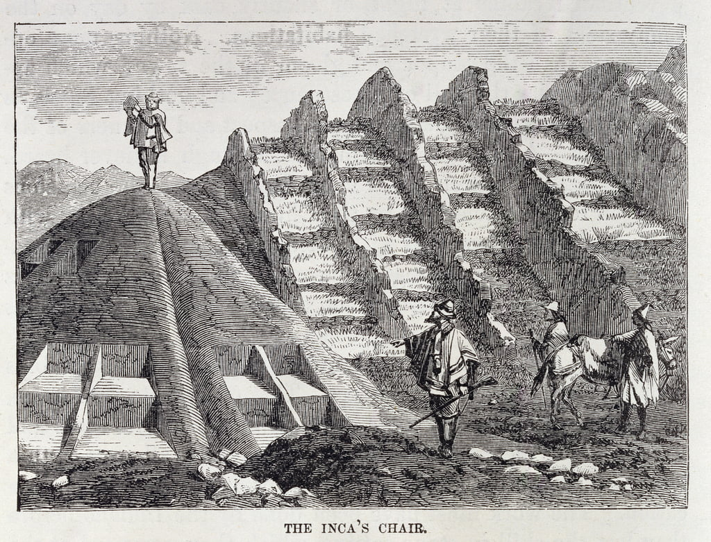 "The Inca&39;s Chair, da ""Incident of Travel and Exploration in the Land of the Incas"" di E. George Squier, pub. nel 1878 da English School"
