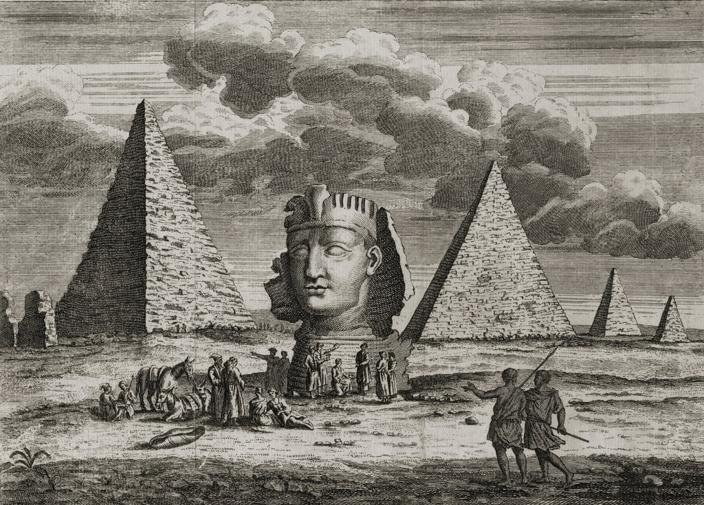 Le piramidi e la Sfinge a Giza, in Egitto, 1725 circa da English School