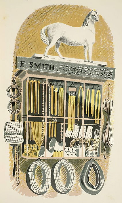 "Saddler and Harness Maker, illustrazione da ""High Street"" di JM Richards, stampato dalla Curwen Press, pub. di Country Life, 1938 da Eric Ravilious"