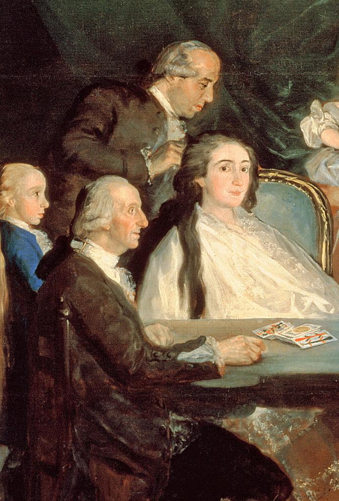 La famiglia dell'infante Don Luis de Borbon, 1783-84 olio su tela dettaglio del 214612 da Francisco de Goya