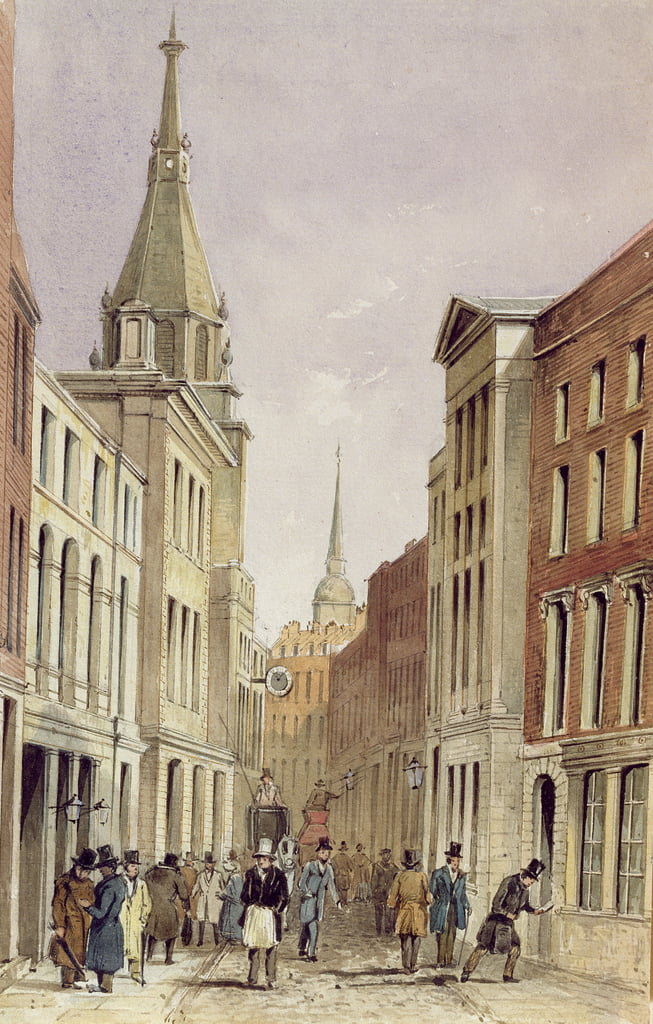 Lombard Street East, con St. Edmund the King, 1850 circa da Frederick Shepherd