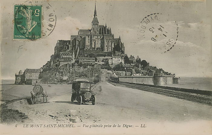 Cartolina di Mont Saint-Michel, in Normandia, inviata nel 1913 da French Photographer
