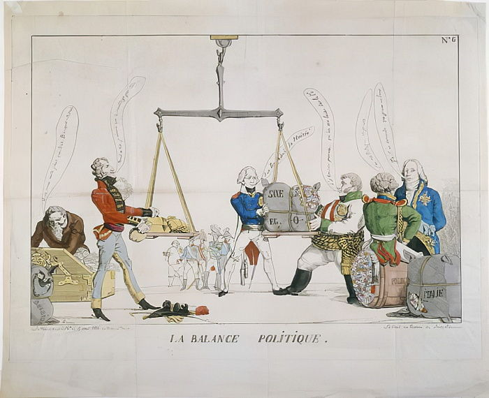 La Balance Politique, una caricatura del Congresso di Vienna, 1815 (acquaforte colorata) da French School