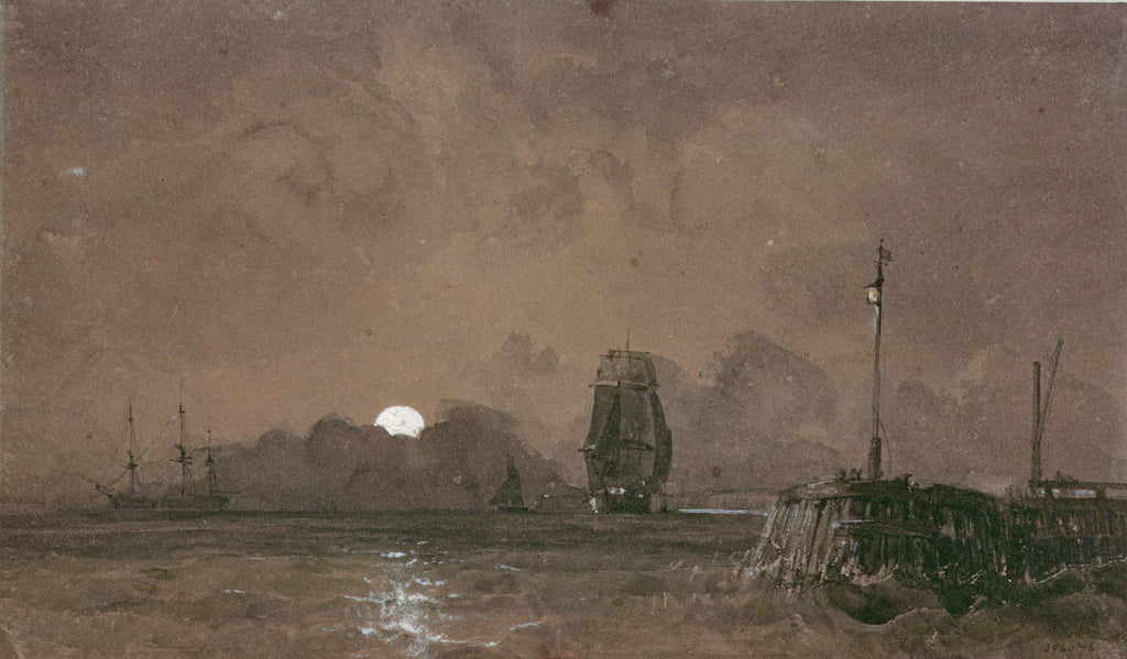 Porto di Sunderland: Moonlight, 19 ° secolo da George the Elder Chambers