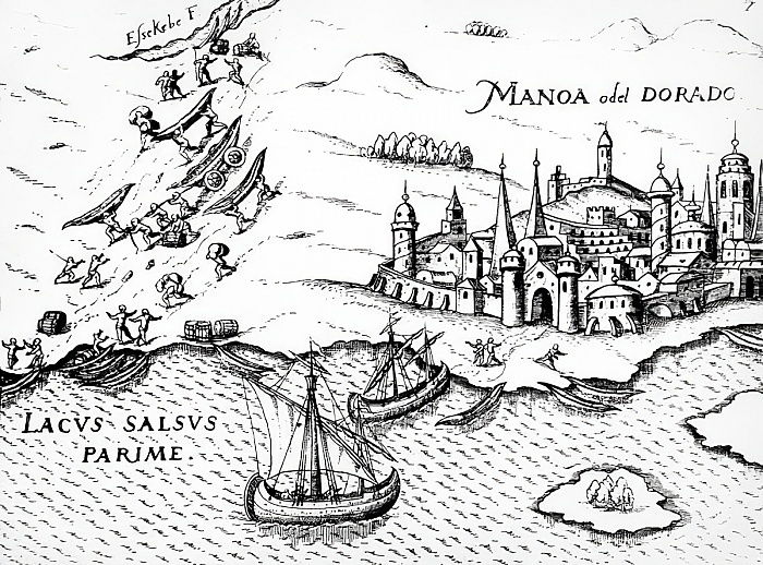 Eldorado, illustrazione di Regni Guianae, di G. Raleigh, 1594-96 da German School