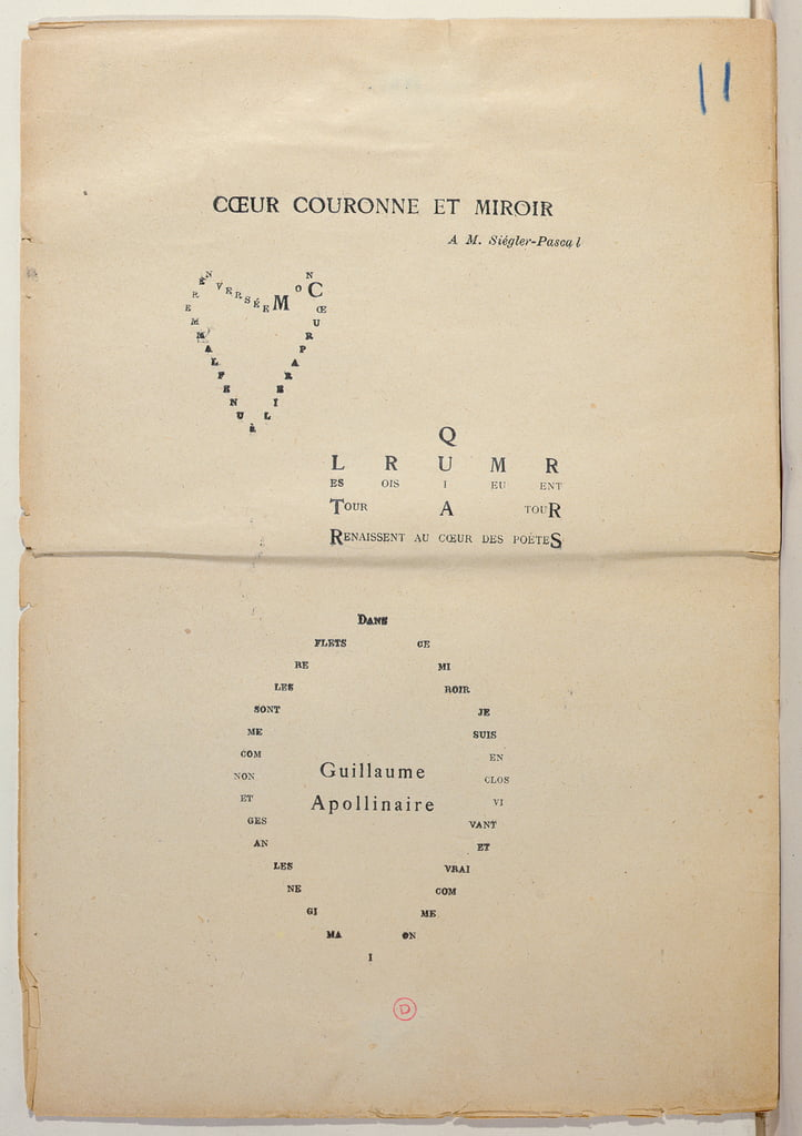 "Copia di prova di una pagina di ""And Me Also I'm Painter"", 1914 (inchiostro su carta) da Guillaume Apollinaire"