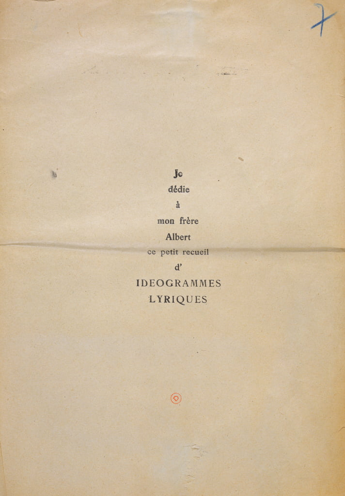 "Copia di prova della dedica di ""And Me Also I&39;m Painter"", 1914 (inchiostro su carta) da Guillaume Apollinaire"
