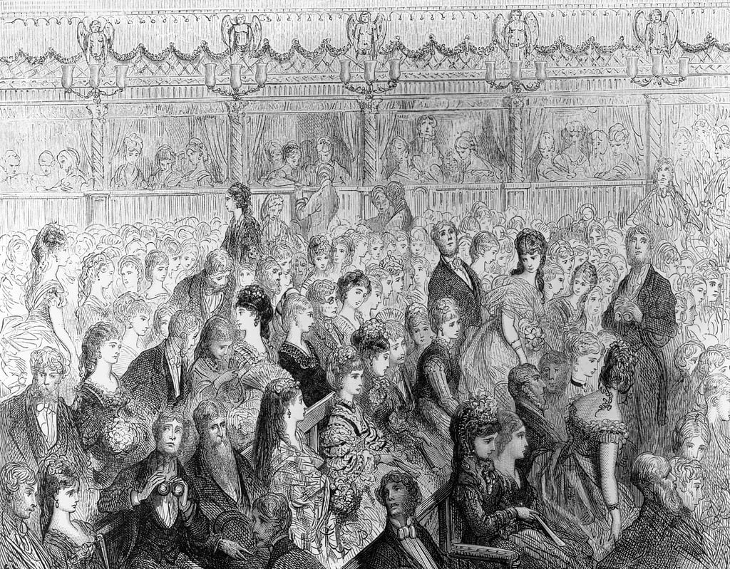 "The Stalls, Covent Garden Opera, da ""London, a Pilgrimage"", scritto da William Blanchard Jerrold (1826-84), inciso da Paul Jonnard-Pacel (d.1902) da Gustave Dore"