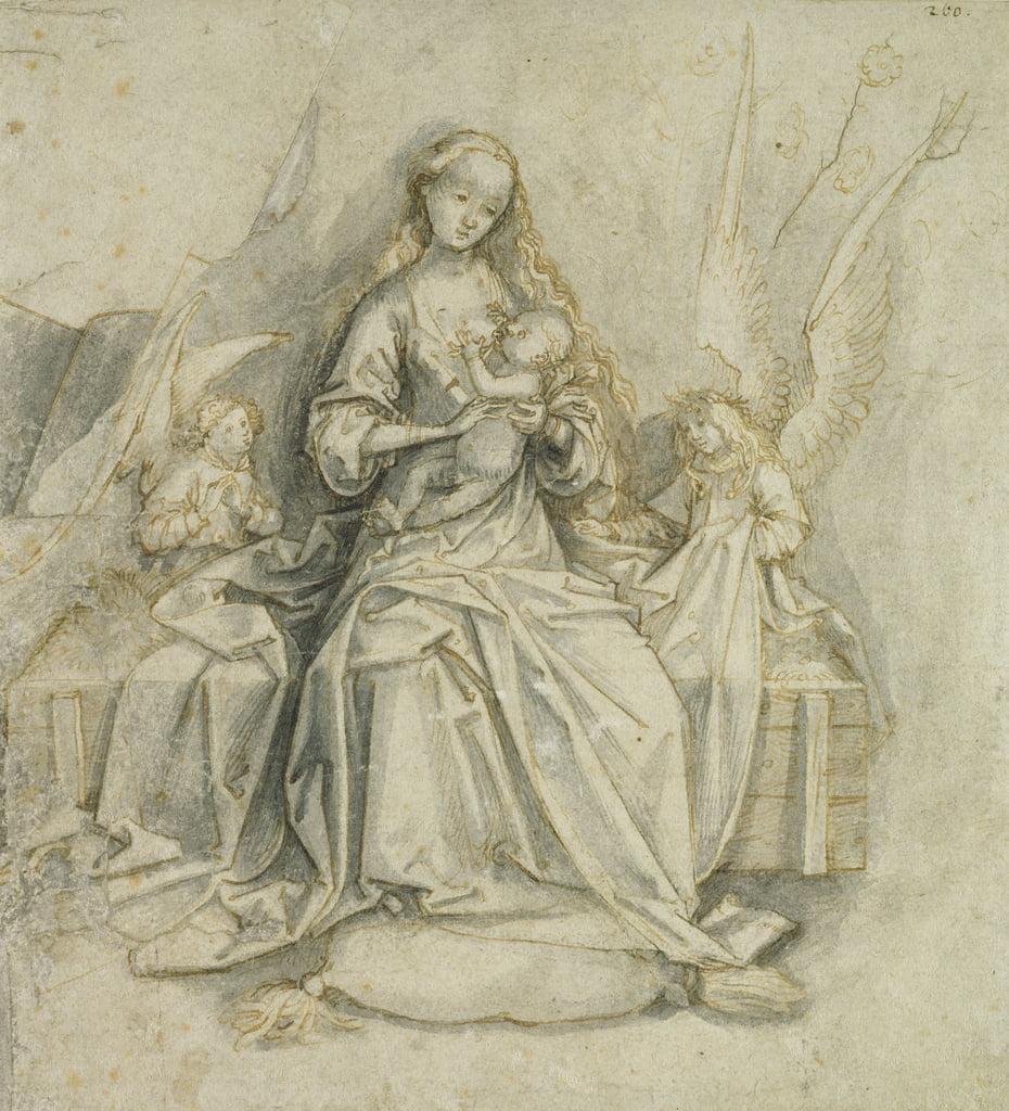 Madonna e bambino (penna e inchiostro marrone con matita su carta) da Hans Holbein the Elder