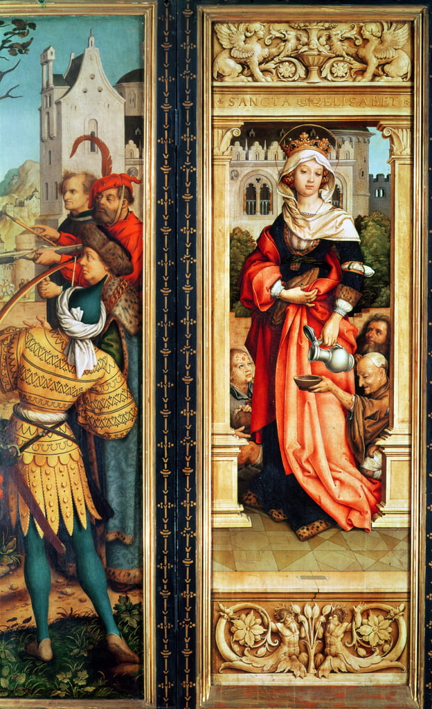 S. Elisabetta di Ungheria (1207-31) pannello di destra del Trittico di San Sebastiano, 1516 da Hans Holbein the Elder
