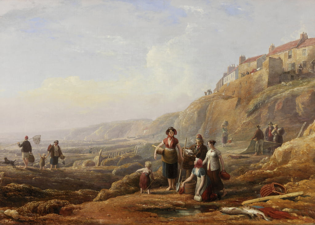 Old Cullercoats, Spate Gatherers da Henry Perlee Parker