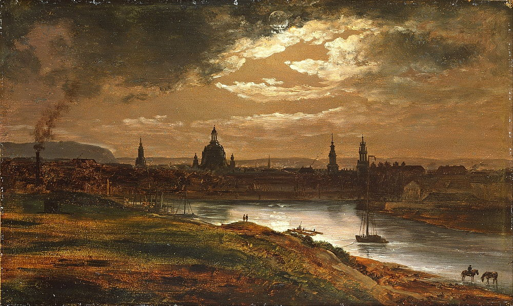 Dresda al chiaro di luna di Johan Christian Dahl