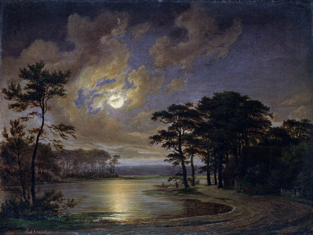 Holstein Sea - Moonlight, 1847 da Johann Georg Haeselich