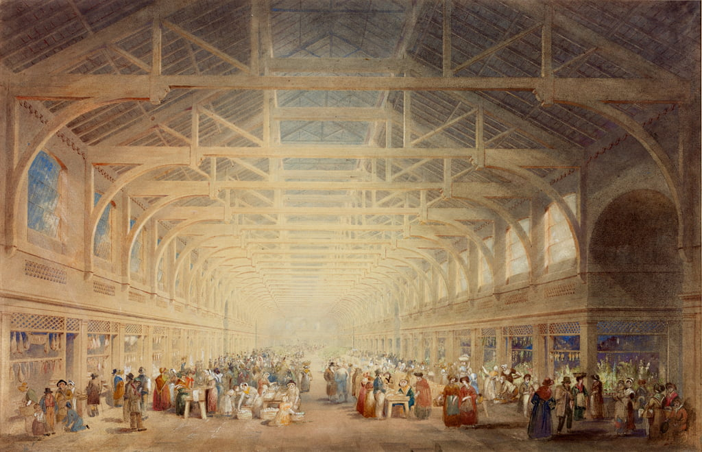 The Green Market, Newcastle upon Tyne (bc, gesso, inchiostro, matita e wc su carta) da John Dobson