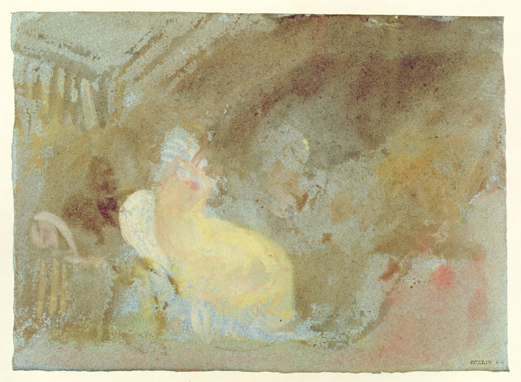 Interno a Petworth con figura seduta, 1830 (gouache) da Joseph Mallord William Turner