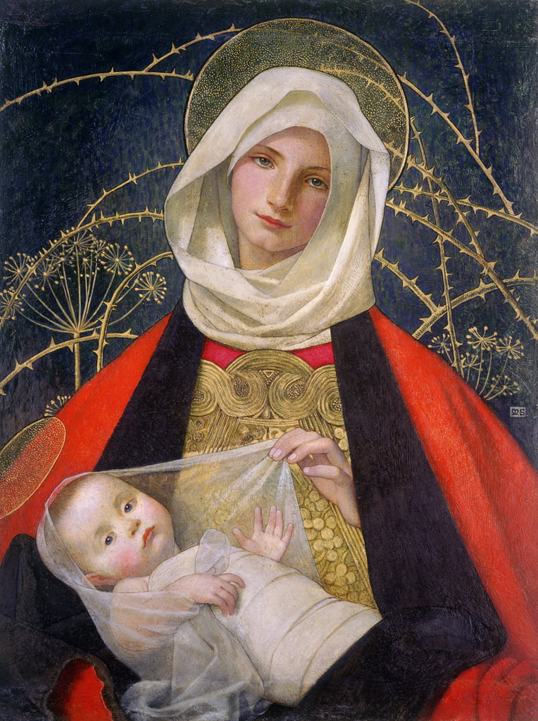 Madonna and Child, 1907-08 (tempera su pannello) da Marianne Stokes