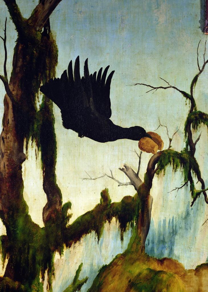 La visita di Sant'Antonio a San Paolo dell'eremita dalla pala d'altare di Isenheim. Particolare di un corvo che porta un pezzo di pane, c.1512-16 olio su tavola da Matthias Grünewald