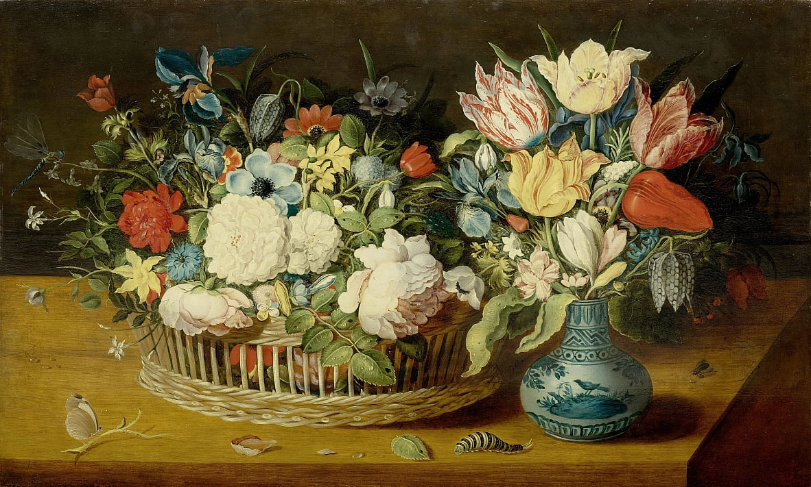 Natura morta con fiori in un cesto di vimini e bouquet in un vaso di porcellana da Osias the Elder Beert