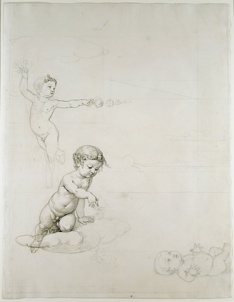 The Two Rose Genies e Baby in the Field, 180708 (penna e inchiostro su carta) da Philipp Otto Runge