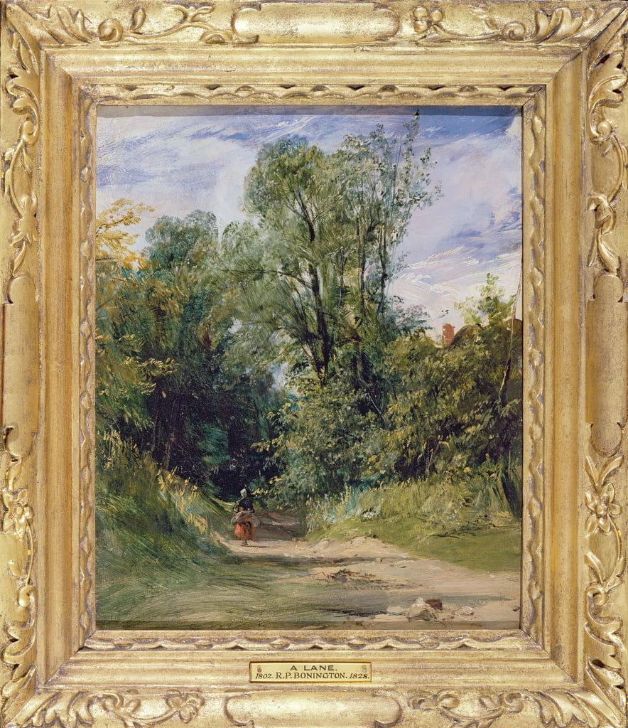A Wooded Lane, c.1825 (olio su cartone) da Richard Parkes Bonington
