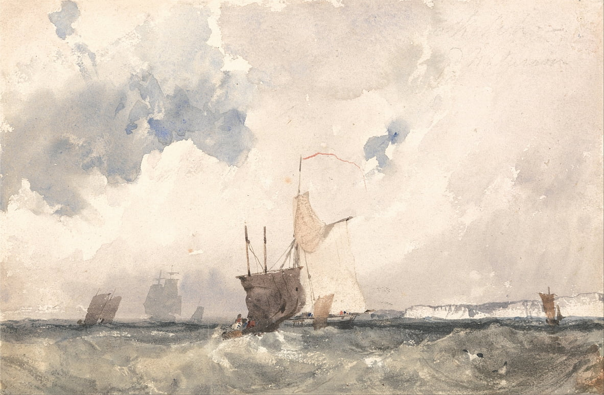 Vasi in un mare agitato da Richard Parkes Bonington