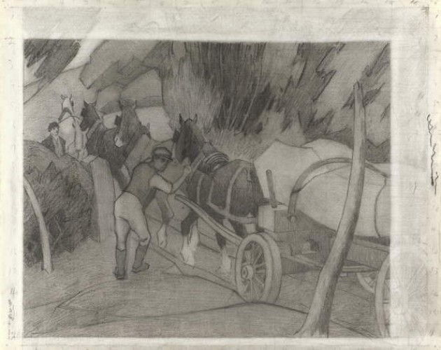 Timber Hauling, c.1917 (pastello su carta) da Robert Polhill Bevan