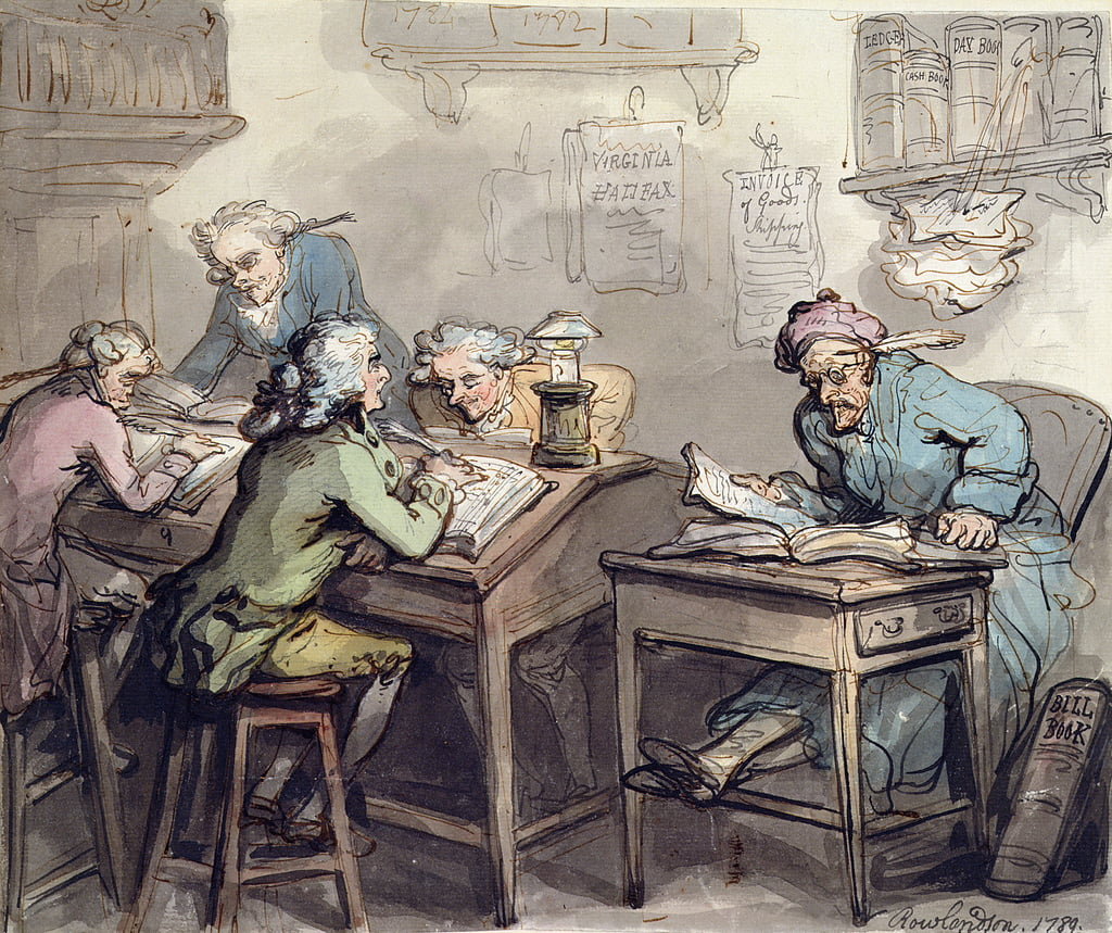A Merchant&39;s Office, 1789 (penna e inchiostro e wc su grafite su carta) da Thomas Rowlandson