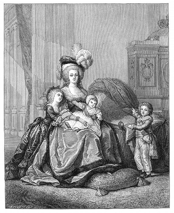 Marie Antoinette And Her Children, c1787, 1885. da Unbekannt