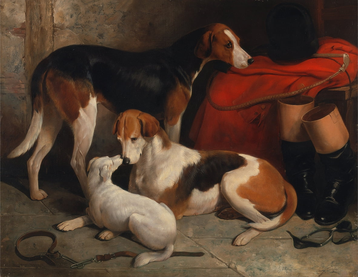 Una coppia di Foxhound con un Terrier, di proprietà di Lord Henry Bentinck da William Barraud