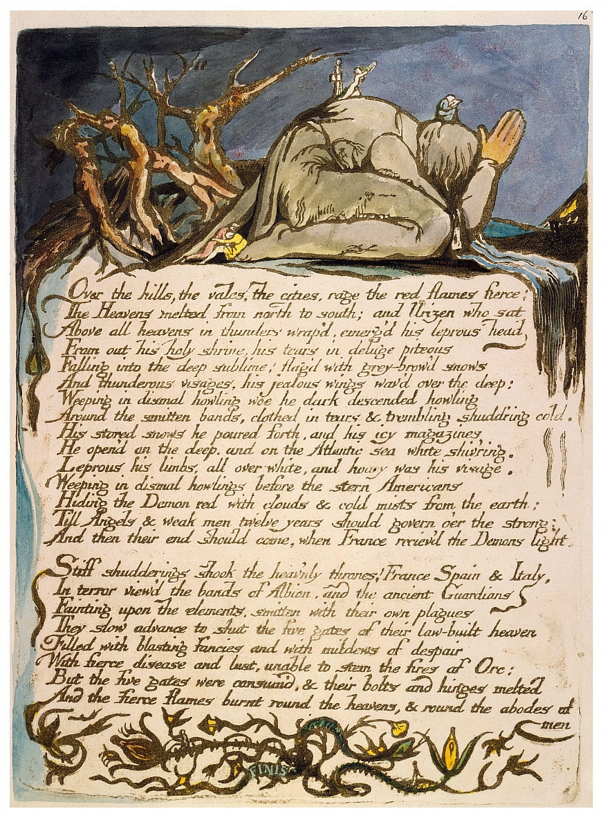 America a Prophecy copia un piatto 18 da William Blake