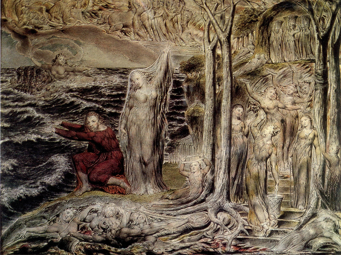 Blake della grotta delle ninfe di Devon Court, Arlington, temperamento da William Blake