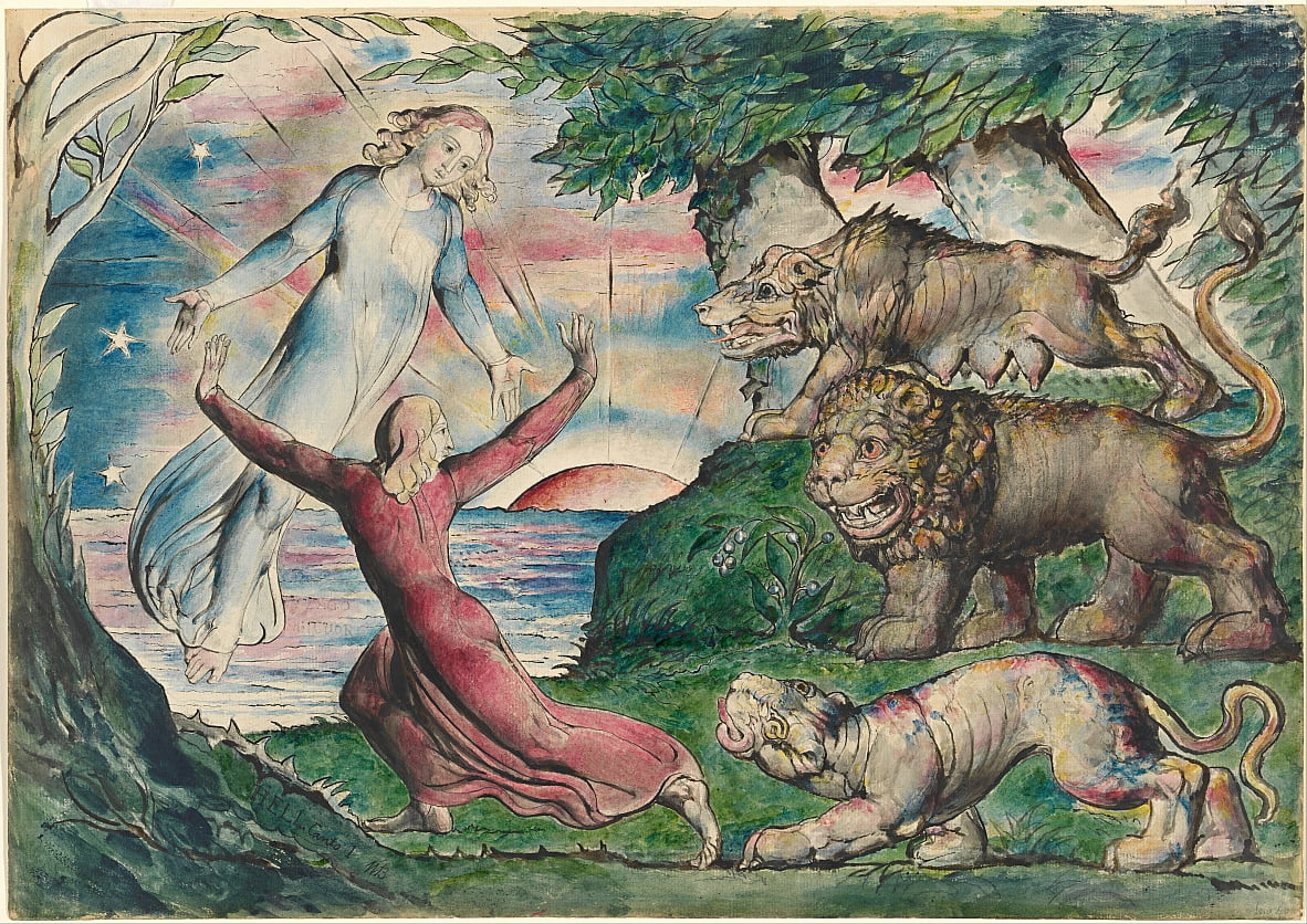 Dante che correva dalle tre bestie da William Blake