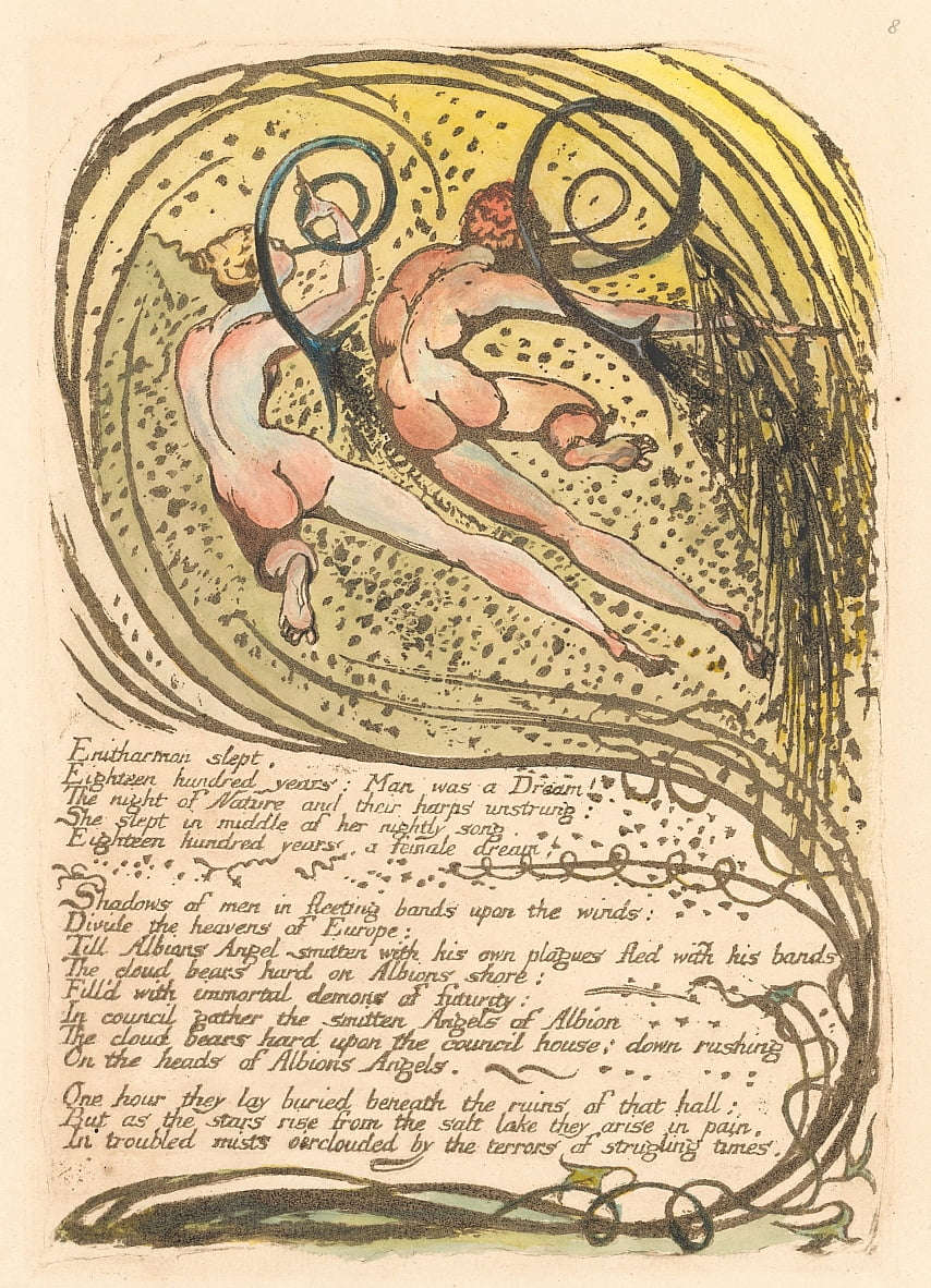 Europa. Una profezia, tavola 10, Enitharmon dormiva. . . . (Bentley 12) da William Blake