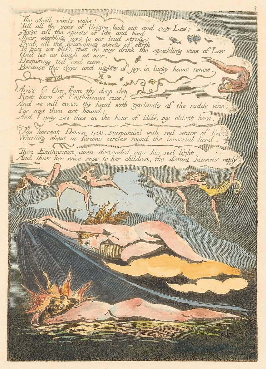 Europa. Una profezia, tavola 6, scia i venti striduli. . . . (Bentley 7) da William Blake
