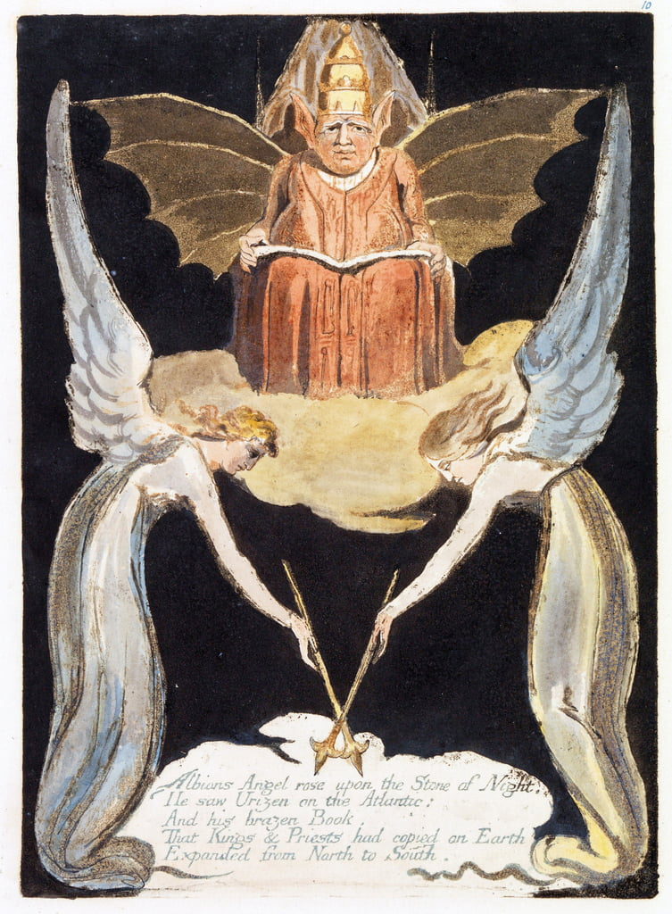 "Illustrazione di ""Europa: una profezia"", Lambeth, 1794 (inchiostro e carta su carta) da William Blake"
