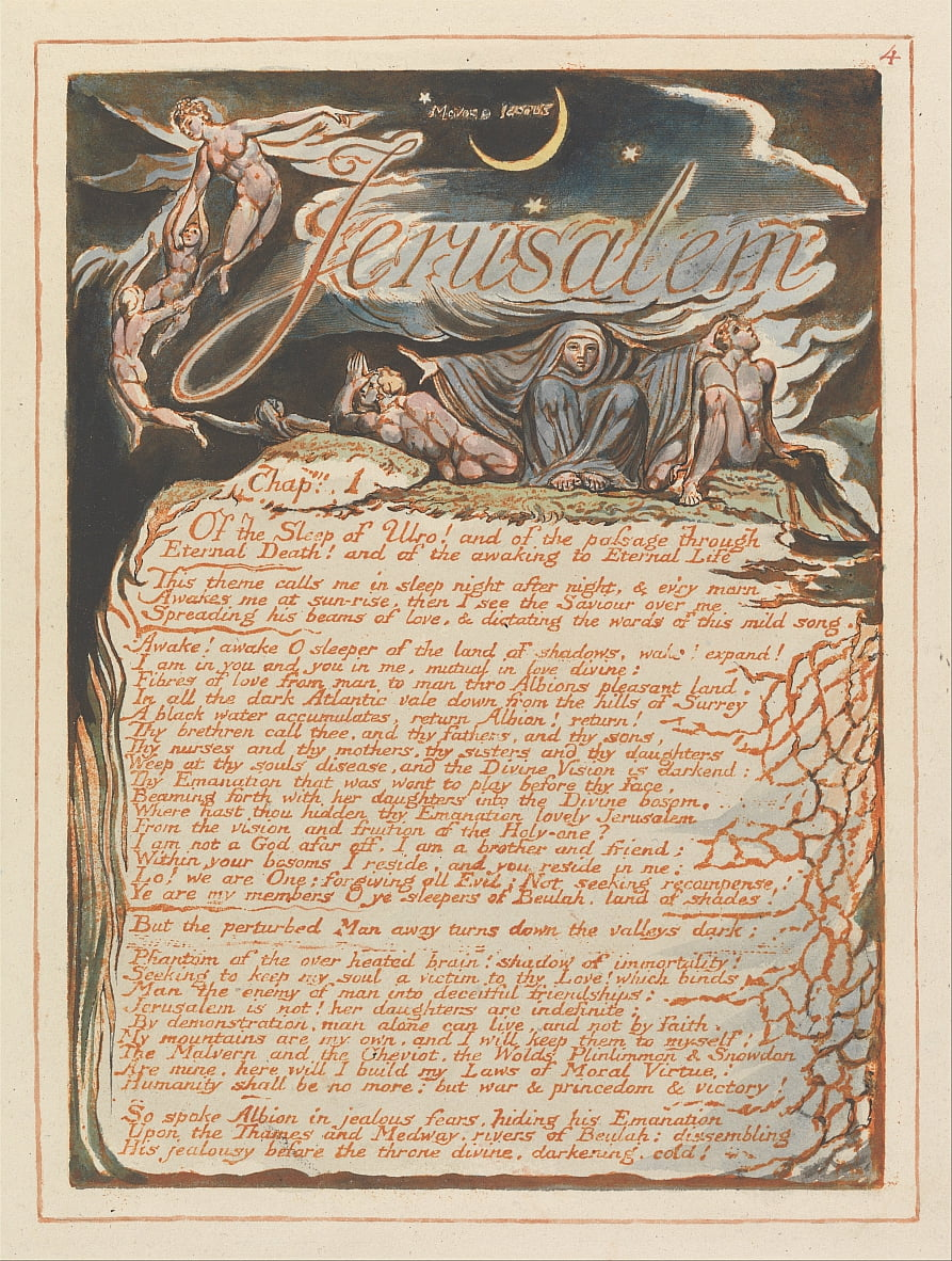 Gerusalemme, tavola 4, Gerusalemme, cap. 1 .... da William Blake
