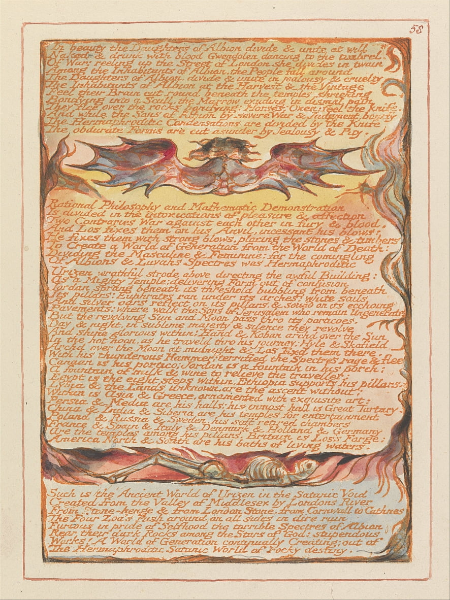 Gerusalemme, tavola 58, In beauty the Figlie di Albion .... da William Blake